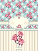 Retro floral frame with seamless pattern on blue background