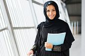 foto of hijabs  - attractive modern islamic college girl on campus - JPG