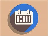 Flat long shadow icon of calendar