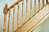 foto of bannister  - Photo of a modern stair banister rail - JPG