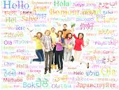 Group of teenagers over the background with the many words from the different languages (language sc