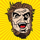 crazy bearded man cartoon illustration