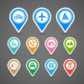 Map Pins Travel Icons Set