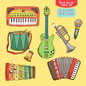 stock photo of accordion  - vector illustration hand drawn musical instrument - JPG