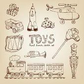 stock photo of drum-set  - vintage hand drawn toys set - JPG