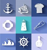 Sailor And Ships Flat Icon Set