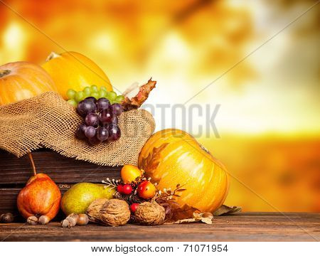 Seasonal harvested agriculture products in wooden box with blur background poster