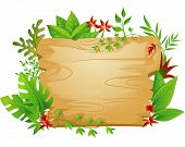 Border Illustration Featuring a Blank Board Surrounded by Jungle Plants