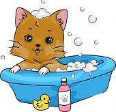 Illustration Featuring a Cute Little Cat Taking a Bath