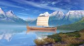 pic of viking ship  - Computer generated 3D illustration with a Viking Ship in a river landscape - JPG