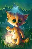 Little Fox With Lantern In The Forest