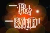 For Sale Word On Vintage Bokeh Background, Concept Sign