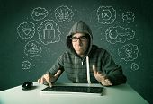 Young nerd hacker with virus and hacking thoughts on green background