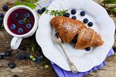 French breakfast - Fresh homemade french croissants with blueberries