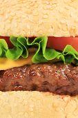 Close up of hamburger layers.