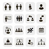 Business people meetings icons