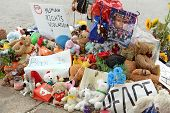 FERGUSON, MO/USA - AUGUST 30, 2014: A makeshift memorial near where black teenager Michael Brown was