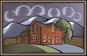 Vector illustration of a farm and abundance of delicious homemade food. Done in retro woodcut style.