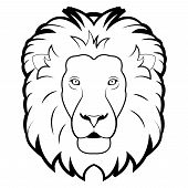 black and white illustration of lion