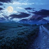 Gravel Road To High Mountains At Night