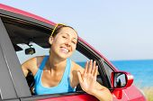 Woman Car Driver Happy