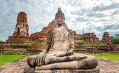 Buddha statue in Wat Mahathat temple in Ayutthaya, Thailand