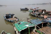 KOLKATA, INDIA - FEBRUARY 14: River boats waiting for the passengers at the dock on February 14, 201