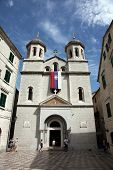 KOTOR, MONTENEGRO - JUNE 10, 2012: St. Nicholas church on St. Luke square in Kotor old town, on June