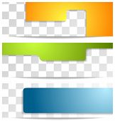 Bright geometry tech banners. Vector design