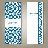 Ethnic blue and white banners