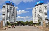 Almaty, Kazakhstan - Apartment Buildings Of City Near Central Square