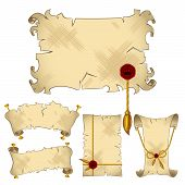 Isolated ancient parchment scroll banners