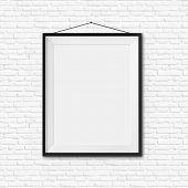 White blank frame on white brick wall background