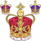 picture of ermine  - Vector set gold crown adorned with precious stones - JPG