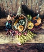 Cornucopia With Squash, Gourd, Pumpkin And Wheat