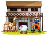 Illustration of many animals and a lumberjack