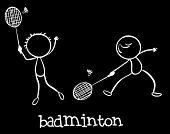 Illustration of two men playing badminton