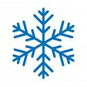 Blue Snowflake isolated on white background. Vector Illustration.
