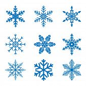 picture of cold-weather  - llustration set blue Snowflake isolated on white background - JPG