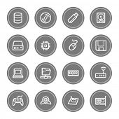 Computer components web icon set 1, grey circle buttons