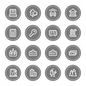 Travel web icon set 4, grey circle buttons