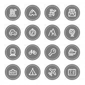 Travel web icon set 1, grey circle buttons
