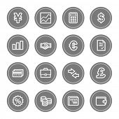 Finance web icons, grey circle buttons
