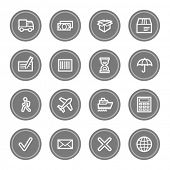 Delivery web icons, grey circle buttons