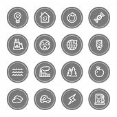 Green ecology web icon set 1, grey circle buttons
