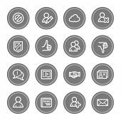Community. Social media web icons, grey circle buttons