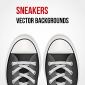 Background of simple sneakers. Realistic Vector Illustration.