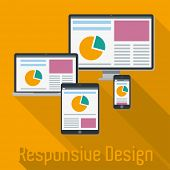 Responsive Web Design Concept. Vector Illustration with responsive design displayed on electronic devices.