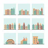 Cityscape icons set