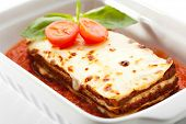 Lasagna with Tomato Sauce and Basil Leaf